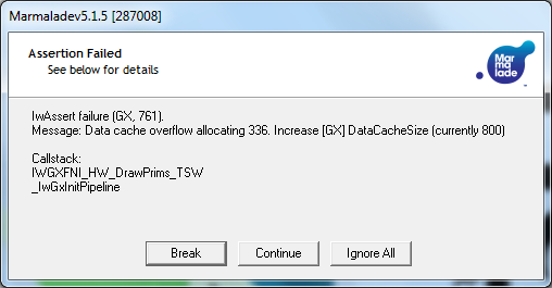 Marmalade Data Cache Overflow Error Dialog